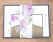 Modern Floral Wedding Invitation, Watercolor Wedding Invitation, Wedding Invitation Suite, Romantic Invitation DEPOSIT