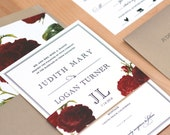 Vintage Floral Wedding Invitation, Vintage Modern Wedding Suite, Red Flower Invite, Black and Red Invitation Set, DEPOSIT