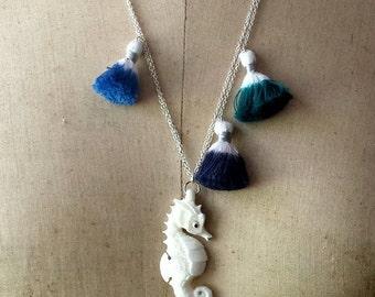 Seahorse Pendant with Ocean Blue Tassels