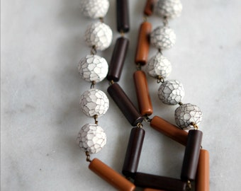 Cocoa Brown Necklace with Faceted White Beads, Caramel Ochre, Polymer Clay, Layering Necklace, Neutrals