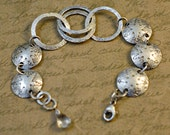 Sterling silver hand forged link and hand stamped 5/8 inch disk bracelet, hammered, oxidized, western, cowgirl, rustic, crystal quartz