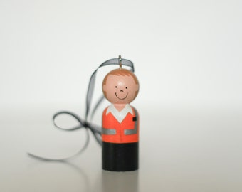 ONE Custom LDS Service Missionary Ornament Wooden Peg doll