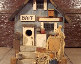 Wood bird house - Bait Shop decor- solid and adorable, great shape