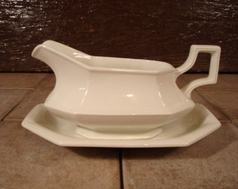 White ironstone sauce dish or gravy dish with underplate- Johnson Brothers, Heritage white, England, great condition; solid and beautiful