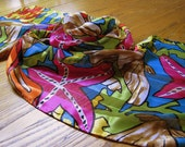 Abstract Scarf, Vibrant Vintage Scarf, Pappagallo Scarf, Pappagallo, Vintage Fashion, Silk Scarf, Head Scarf, Hair Scarf, Hand Rolled