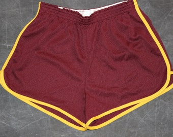 Vintage Large Broderick USA 80s maroon & yellow shorts
