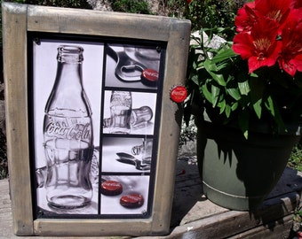 "TIN SIGN CABINET-WaLL storage-""Coca-CoLa""-UniQue Coke BoTTle Cap Knob-Hanging hardware & instructions included-Gr8T Medicine / Spice Cabinet"