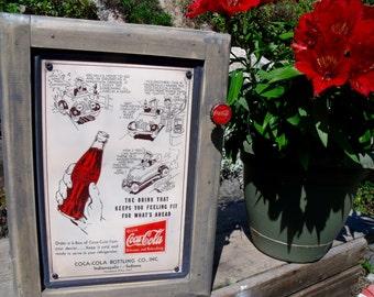 "TIN SIGN CABINET-WaLL storage-""Coca-CoLa""cartoon-UniQue Coke BoTTle Cap Knob-Hanging hardware & info included-Gr8T Medicine / Spice Cabinet"