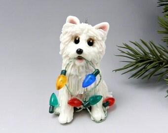 Samoyed Dog Christmas Ornament Figurine Lights Porcelain