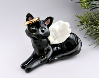 Angel Cat Black Christmas Ornament Figurine Porcelain