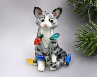 Silver Tabby Cat Christmas Ornament Figurine Lights Porcelain