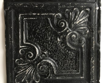 "AUTHENTIC 1890's Tin Ceiling Tile Panel Black 12""x 12"" Arts and Crafts  RECLAIMED 254-16"