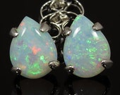 Natural Opals approx. 1.33 carats t.w. Handset in .925 Sterling Silver Earrings - Fast Free Shipping