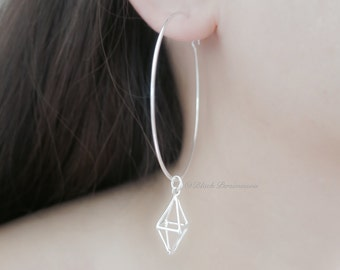 Short Diamond Cage Hoop Earrings - Solid 925 Sterling Silver 3D Pendant - Insurance Included