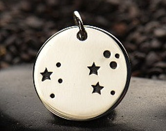 NEW - LEO 925 Sterling Silver  Zodiac Constellation Disc - Add A Chain Option Avaliable - Insurance Included