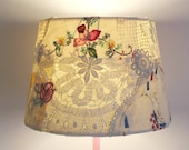 Lampshade d24cmxh17cm applique vintage fabric doilies and embroideries