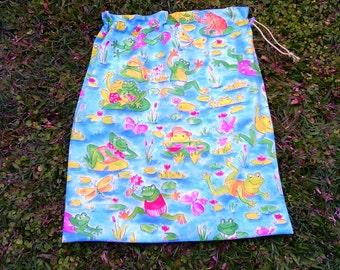 Kids waterproof swimming bag or library bag, large PUL-lined drawstring bag, frogs