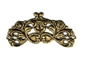 Art Nouveau / Art Deco Antiqued Brass Stamping / Barrette Embellishment / Centerpiece with Roses