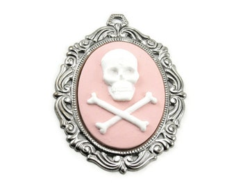 Skull Cameo Pendant with 40x30mm Skull and Crossbones - Sterling Silver Plated Setting - White on Pink - Gothic Lolita