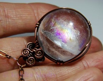 Rainbow Quartz Sphere Pendant Necklace - Colorful Gemstone Crystal Ball Wire-Wrapped with Nickel Free Copper, Healing Hypoallergenic Jewelry