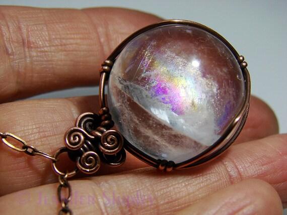Rainbow Quartz Sphere Pendant Necklace Colorful Gemstone