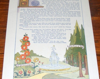 Vintage  Litho Print the Land of Restful Sleep Anthropomorphic Flower Face
