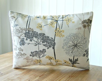 12 x 16 inch dandelion meadow decorative pillow cover, grey, pale gold, light brown leaves, lumbar cushion cover
