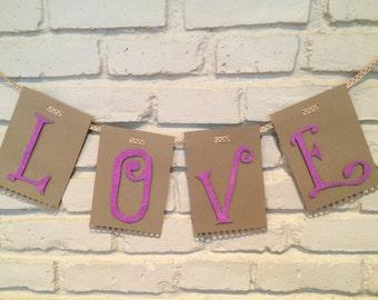 Fancy LOVE Banner, purple glitter lettering on scalloped kraft card stock.  Wedding Decor, Wedding Banner, Engagement Decor