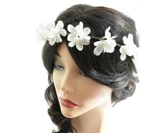 wedding headpiece, flower girl wreath, off white flower hair accessory, bridal hair circlet, hydrangea flower crown