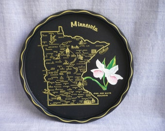 Vintage round black metal souvenir tray, Minnesota metal tray, black round tray