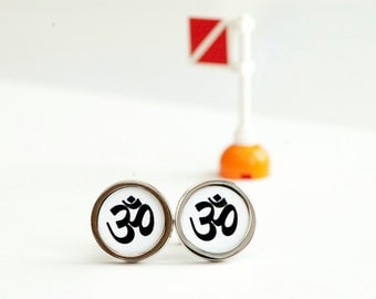 OM Cufflinks - Meditation cufflinks, Men's Cufflinks,  Husband, Wedding gift, Novelty cufflinks for him, Yoga