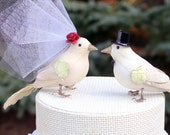 Fancy Finch Wedding Cake Topper in Ivory: Vintage Inspired Bride and Groom Love Bird Cake Topper -- LoveNesting Cake Toppers