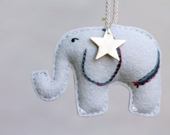Embroidered Elephant Ornament. Felt Christmas Ornament. Silk Road Christmas. Plush Safari Animal. Handmade by Ordinary Mommy