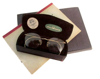 Vintage 1929 reading glasses - Rimless - Gold metal - Original case and optometry tags