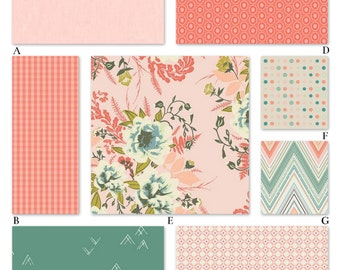 Pink, Peach, Mint and Coral Girl Floral Custom Crib Baby Bedding Set - The Wild Posey Collection