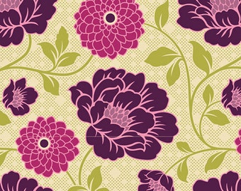 """Purple and Green Floral Window Curtains Pair 64"""", 84"""", 96"""" and Up Window Panels - Blackout Available"""