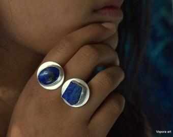 big silver ring blue Lapis lazuli crystal gemstone stone recycled silver contemporary jewelry handmade artisan jewellery OOAK