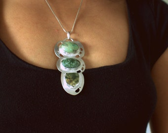 Modern silver pendant multi gemstone big OOAK ruby fuchsite moss agate modern art jewelry snake chain