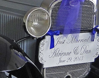 JUST MARRIED - Wedding Signs - 24X10 - Custom Just Married Signs, Double sided - FREE Mr and Mrs champagne tags