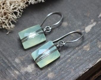 Green Chalcedony Earrings Silver Wire Wrapped Green Gemstone Earrings Sterling Silver