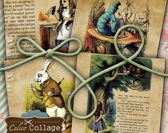 Alice in Wonderland Digital Collage Sheet 4x4 Coaster Size Digital Download for Decoupage, Coasters, Greeting Cards, Gift Tags