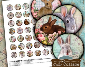 Funny Bunny Digital Collage Sheet Easter Collage Sheet for Cabchon, Bottle Caps, Bezel Settings, Glass Dome Pendants, Rabbit Images for Art