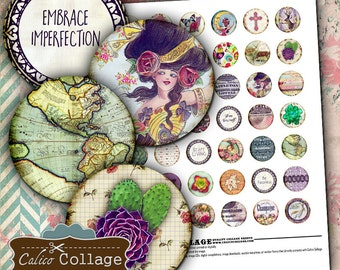 Whimsical Digital Collage Sheet 1 inch size Printable circle Images for Glass Domes, Resin Pendants Bezel Settings, Magnets, Digital Sheet