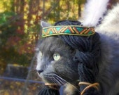 Thanksgiving Cat Costume - Pet Halloween Costume - Cat Photo Prop Native American Inspired Wig with Headband - Sacagawea or Cat-a-Hontas