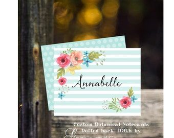 Custom personalized  notecard friendship birthday gift personalized stationery botanical print graduation bridesmaid gifts hostess gift