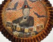 Rusty Halloween Queen Altered Tart Pan - Witch, Bats - Wall Hanging