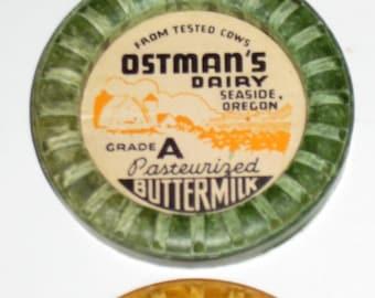Vintage Milk Bottle Caps Lids Tops - Gold, Green, Red - 12  for Scrapbooking, Altered Art, Crafts