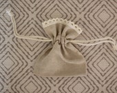 Linen and Lace Gift Bag for Bouquet Charm