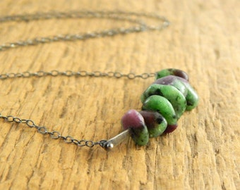 Ruby Zoisite necklace, genuine undyed stone, simple necklace, ready to ship, green and ruby necklace.