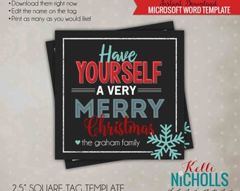 Editable Christmas Party Treat Tag, Holiday Candy Baggie Tag, Favor Tags, Printable Instant Download